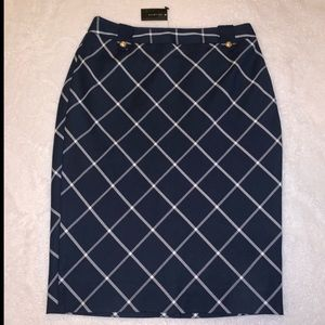 The Limited Navy Plaid Pencil Skirt